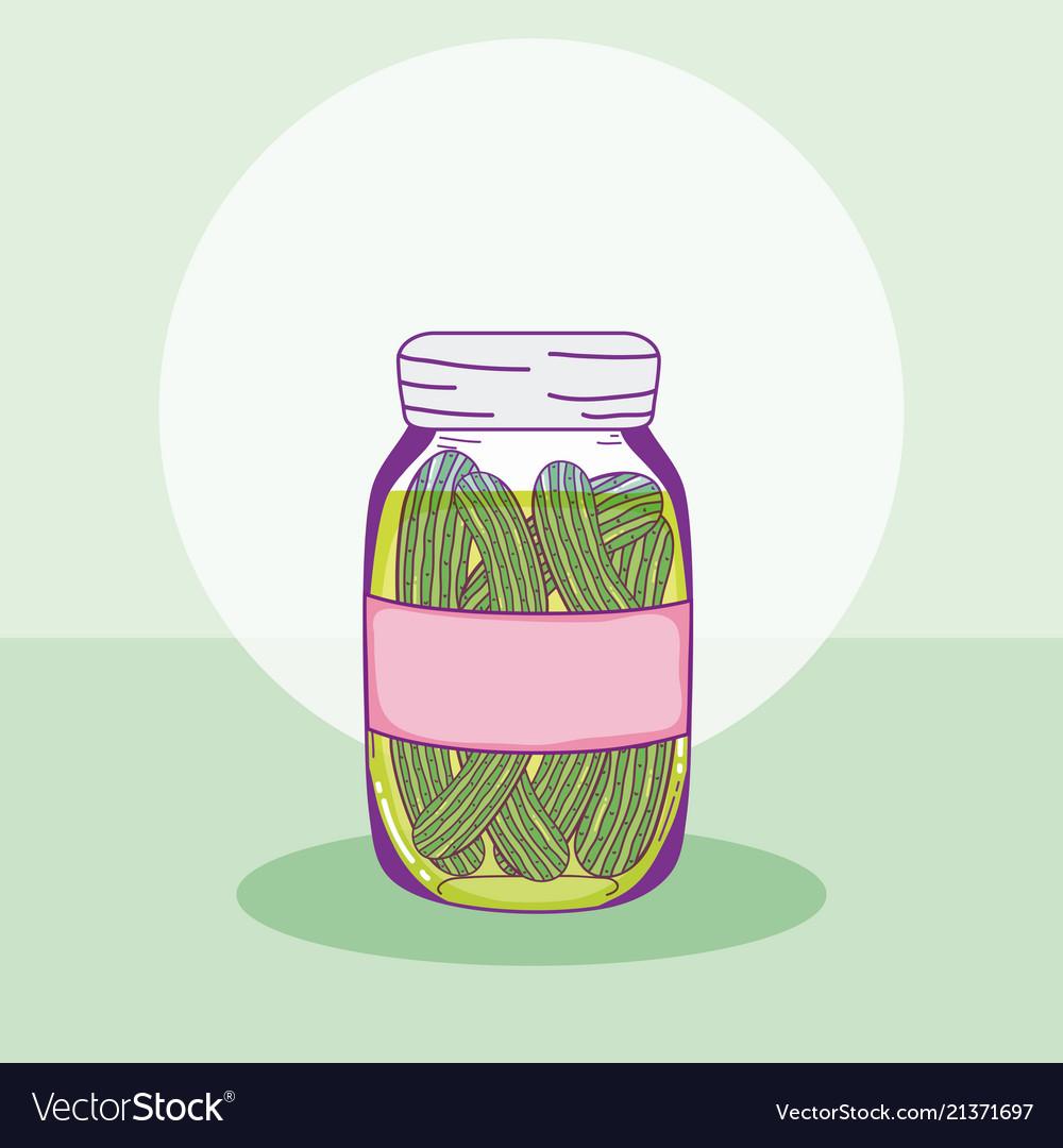 Cucumbers in mason jar