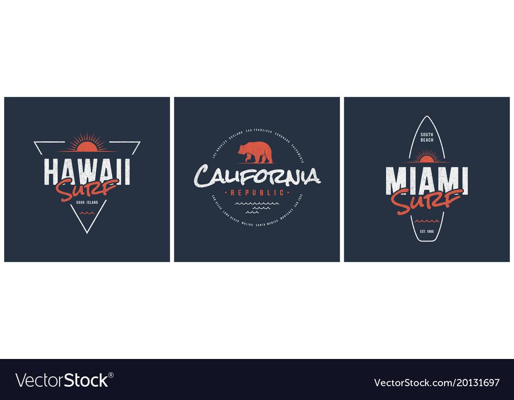Hawaii surf california republic and miami designs