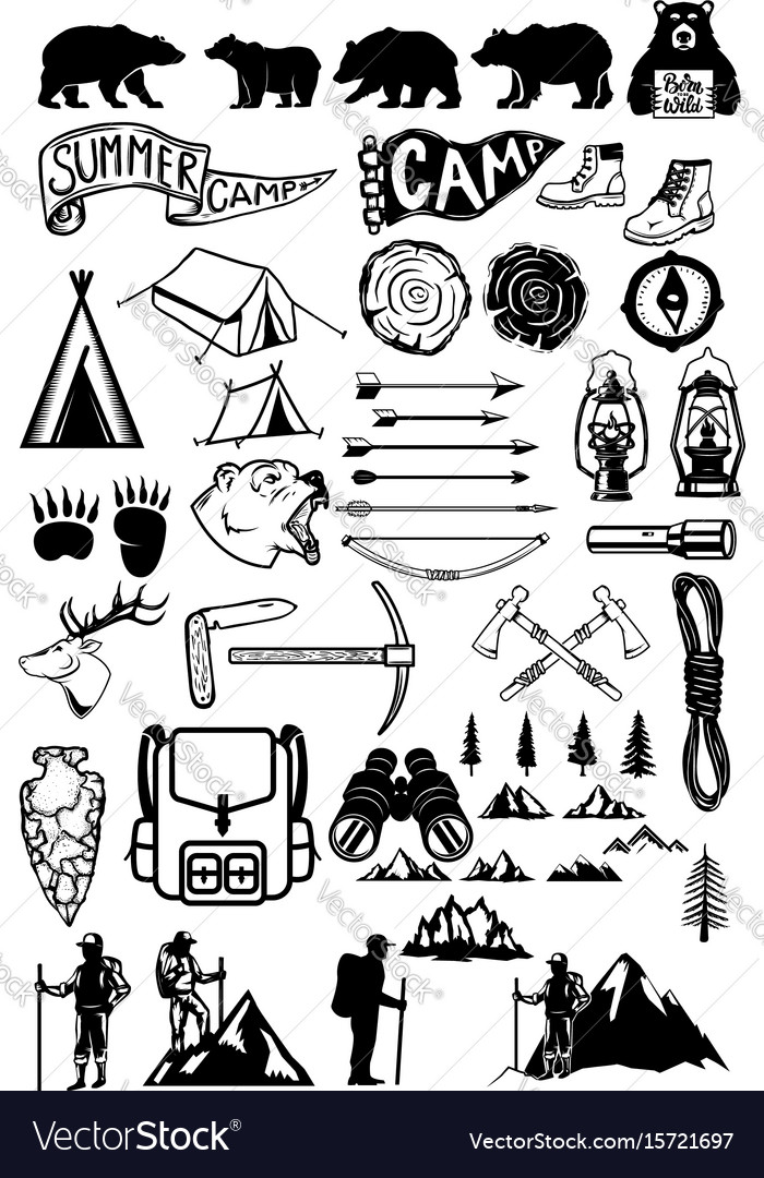 Hiking summer camp emblems and design elements vector