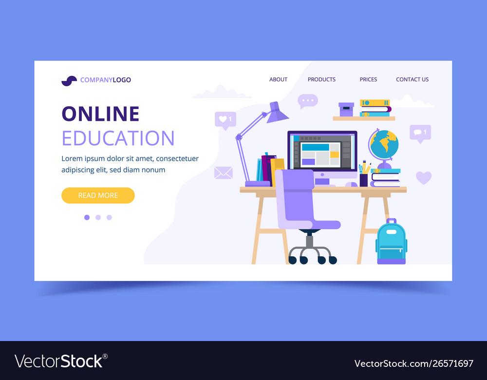 Online education landing page with a student desk
