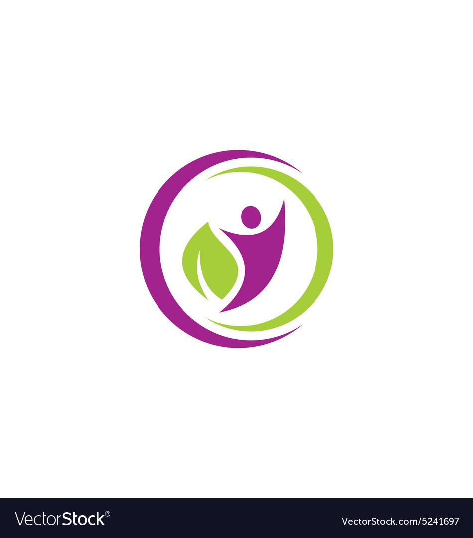 People eco leaf botany vegetarian logo