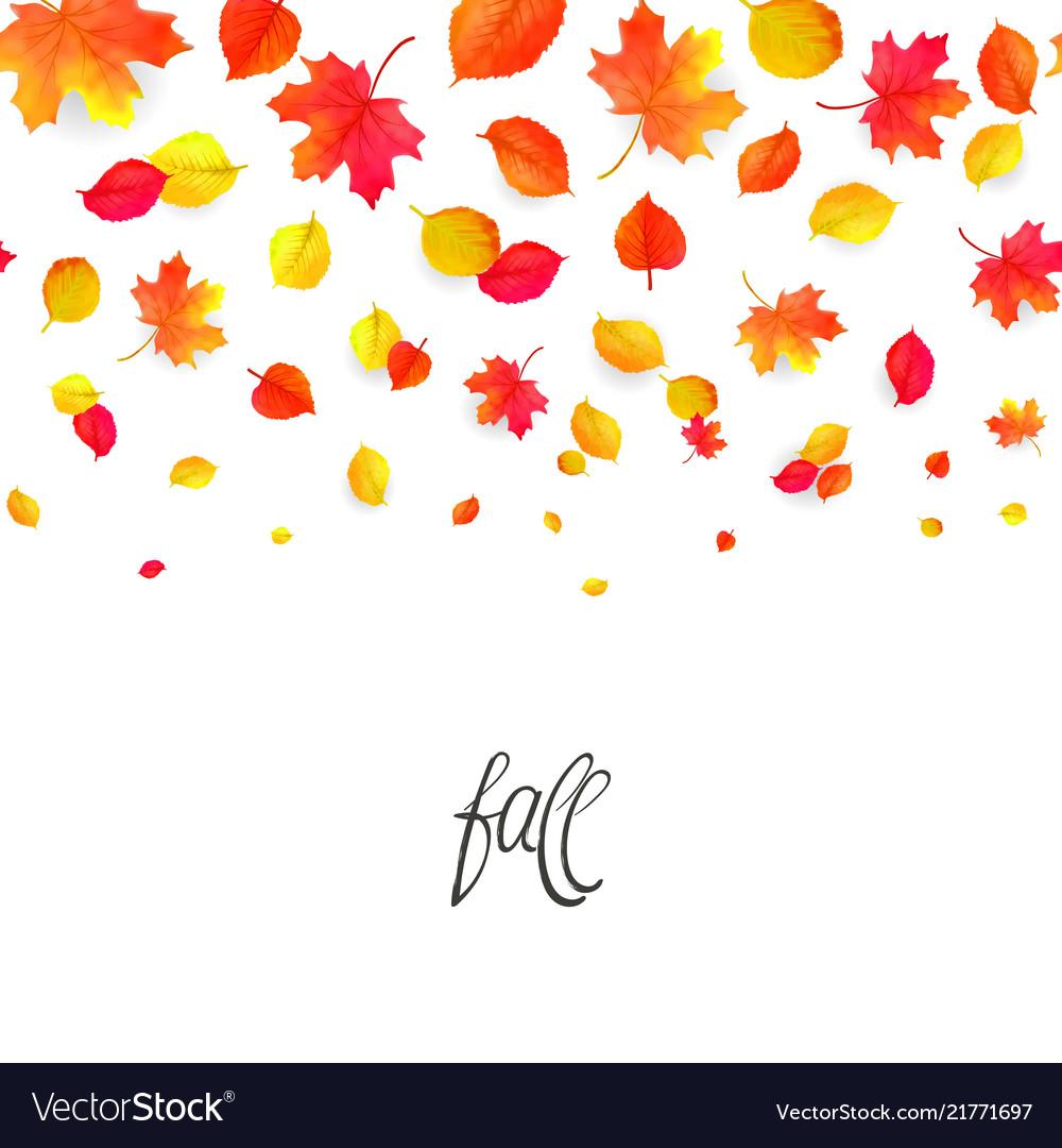 Seamless border pattern of falling autumn leaves