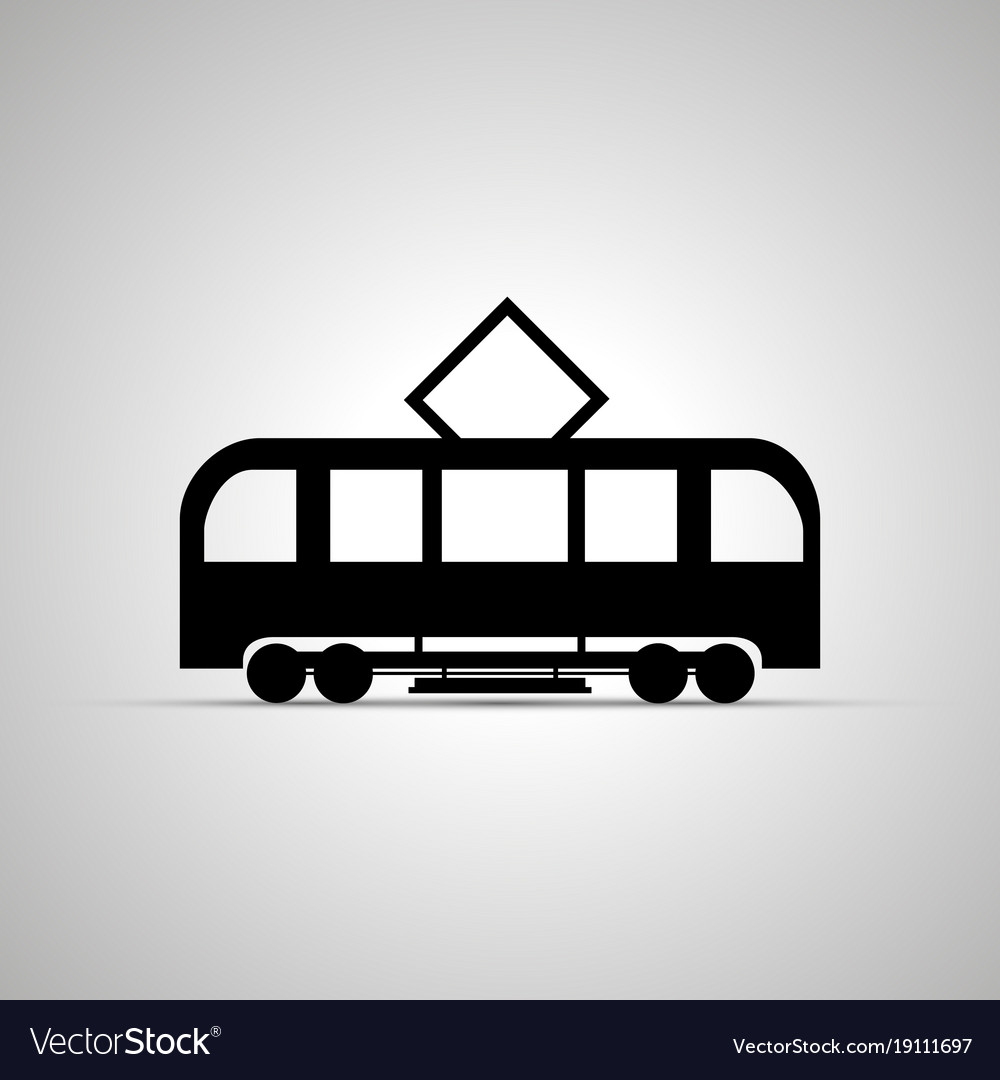 Tram silhouette side view simple black icon