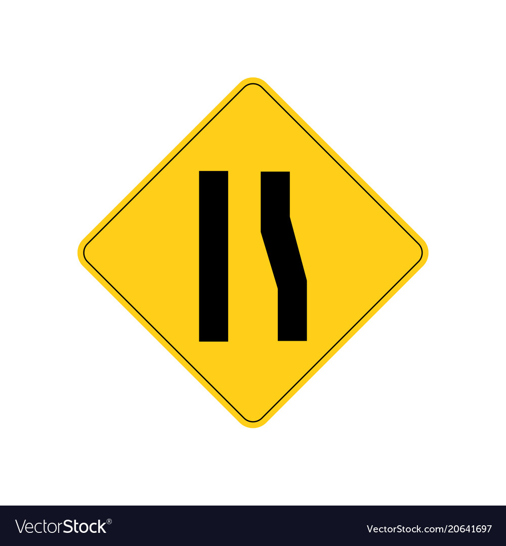 Usa traffic road signs right lane ends ahead