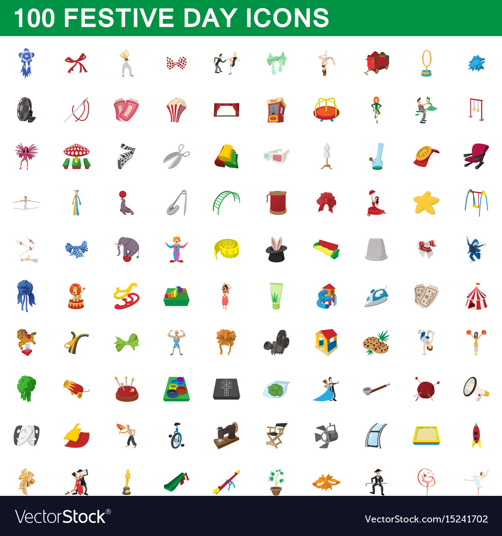 100 festive day icons set cartoon style