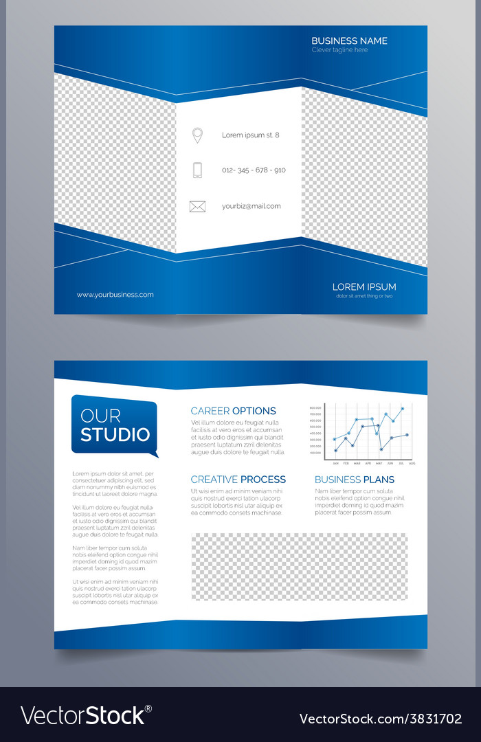 Business trifold brochure template modern blue vector image wajeb Gallery