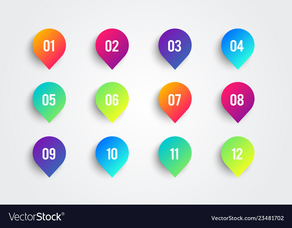Colorful arrow bullet point with number 1 to 12