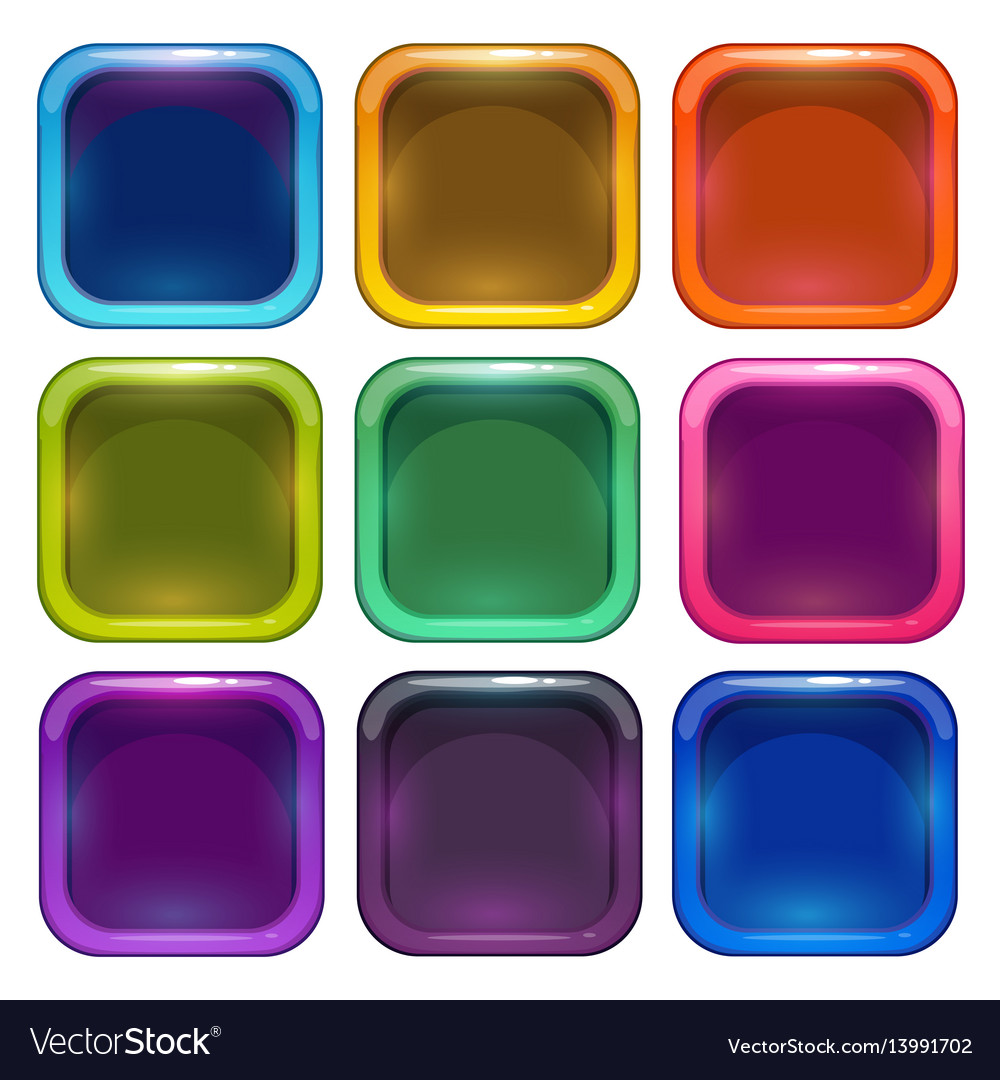 Colorful glossy app icon frames Royalty Free Vector Image