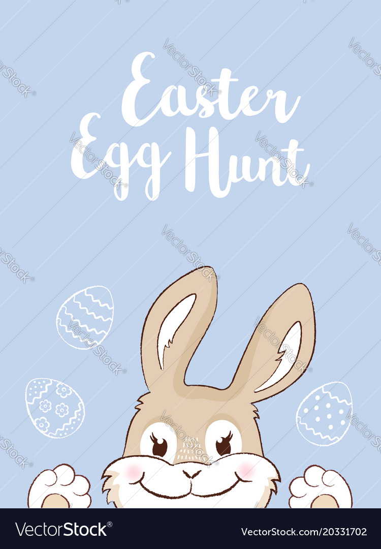Easter bunny with eggs easter egg hunt vector image