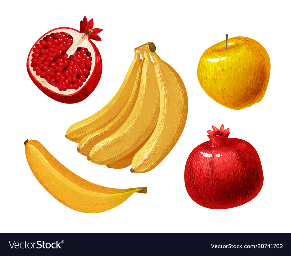Fruits such as banana apple pomegranate
