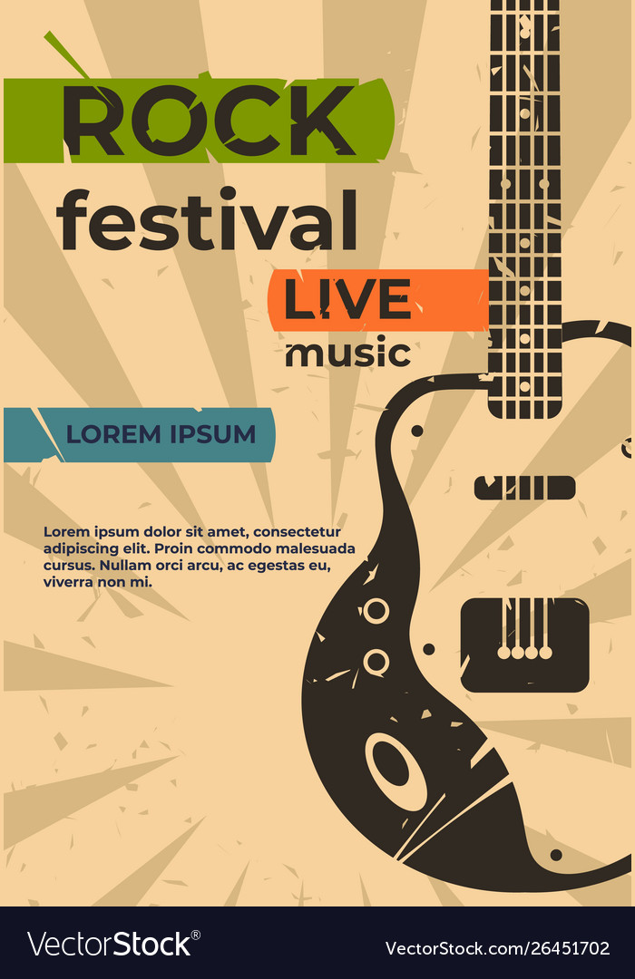 Guitar poster music jazz rock concert or party