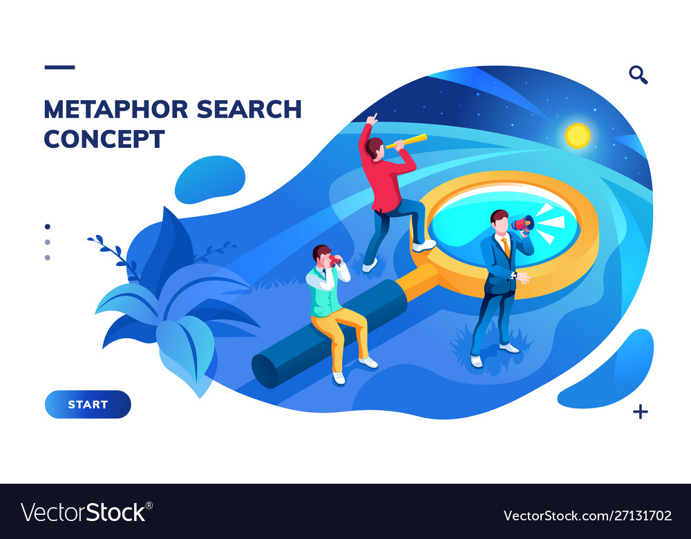 Isometric page for search concept or metaphor