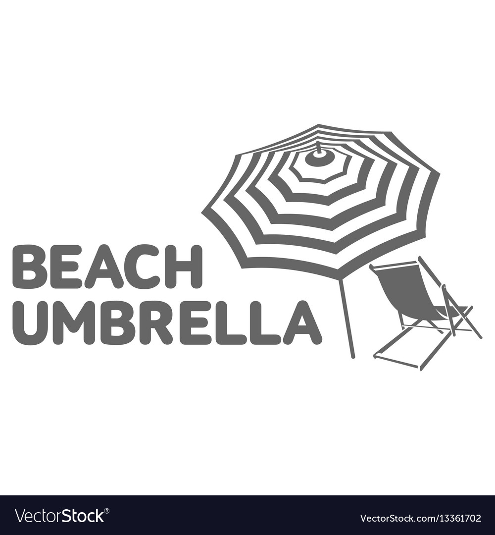 logo template with beach umbrella and sun bathing vector image