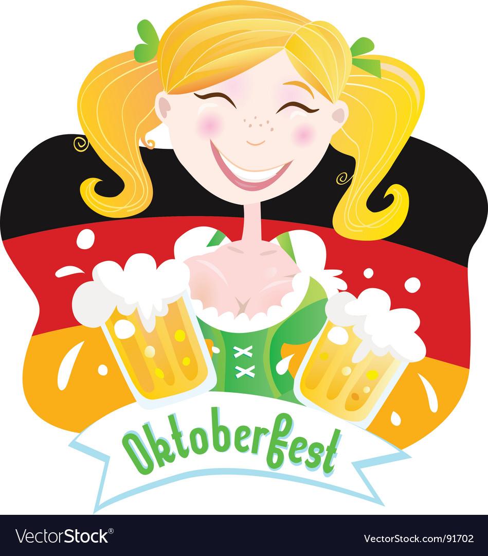 Oktoberfest Bavarian female vector image