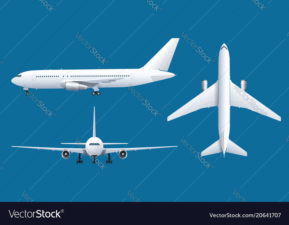 Airplane on blue background industrial blueprint
