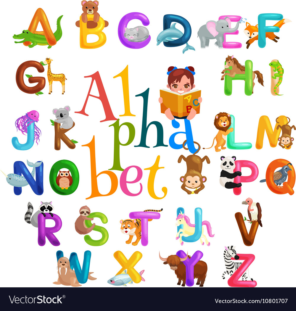 Animals alphabet set for kids abc education