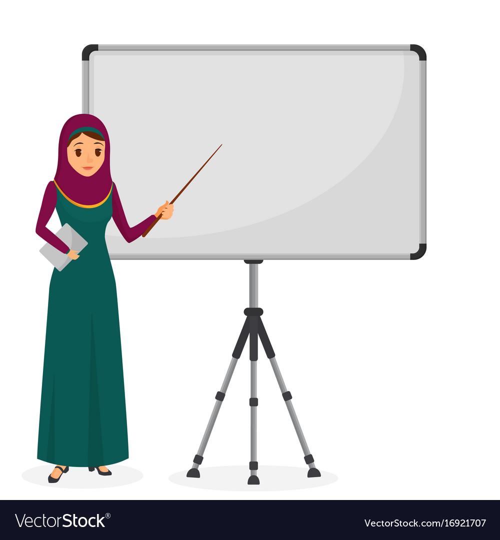 Arabian businesswoman at a presentation standing