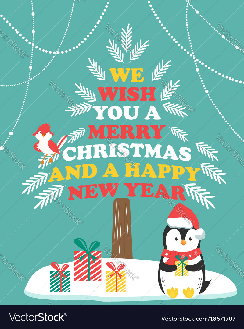 Christmas Card With Winter Scene And Penguin Vector Image