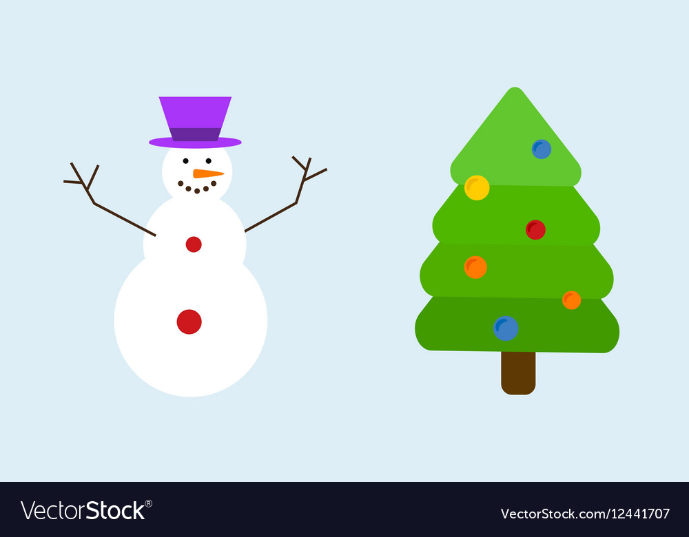 Christmas tree with snowman decoration concept