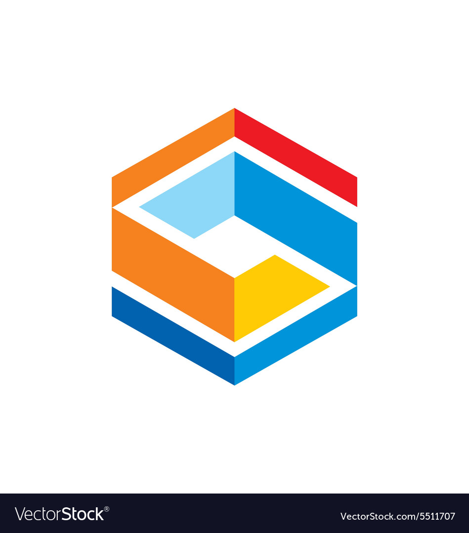 Cube abstract geometry color logo