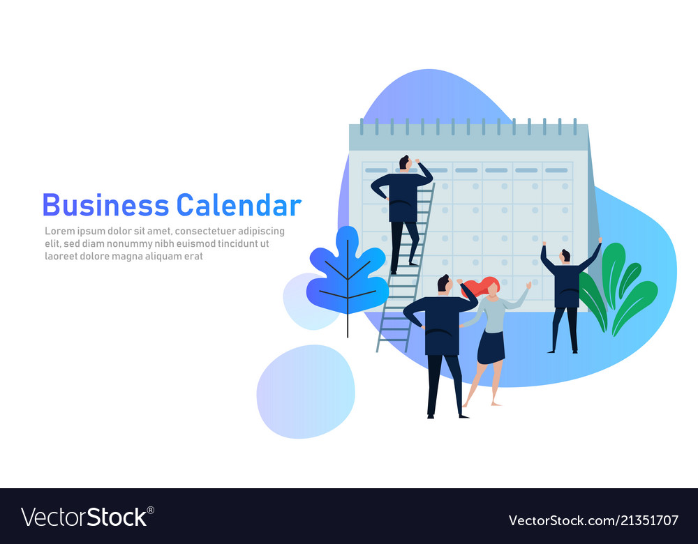 Flat business people planning and scheduling