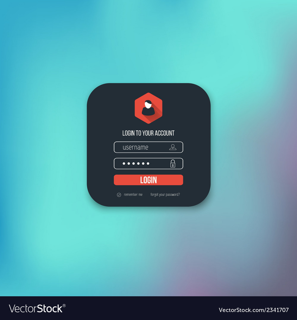 Flat login page vector