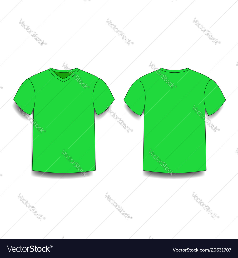 Green Male T Shirt Template V Neck Front And Back Vector Image