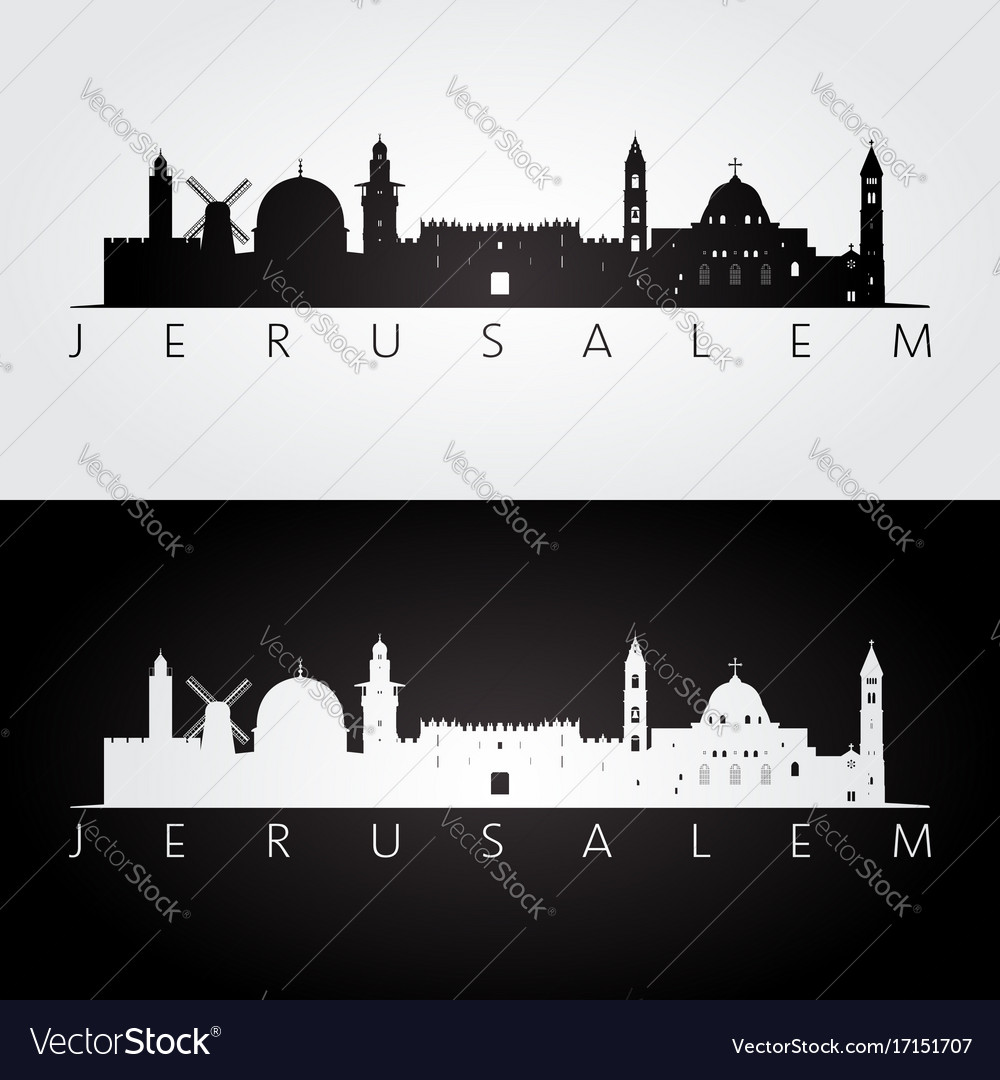 Jerusalem skyline and landmarks silhouette