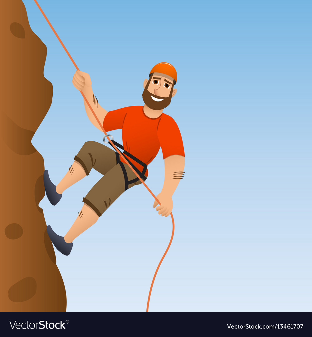 Rock climber man commits to rise the steep slope