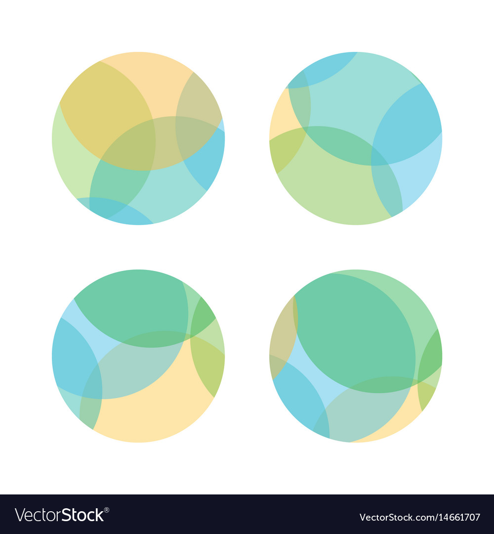 Set Of Colorful Abstract Layered Round Shapes