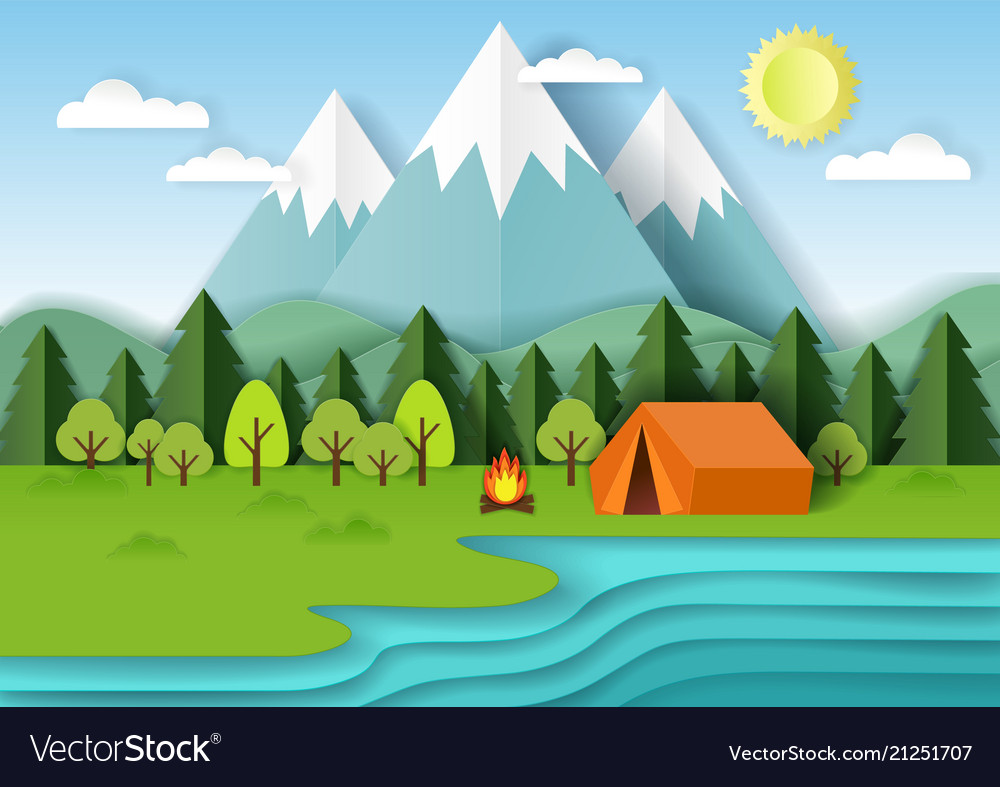 Summer camping paper cut