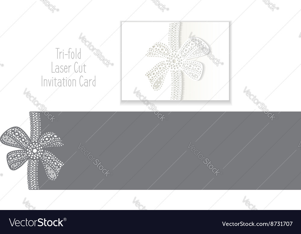 Tri Fold Laser Cut Envelope Template Invitation Vector Image