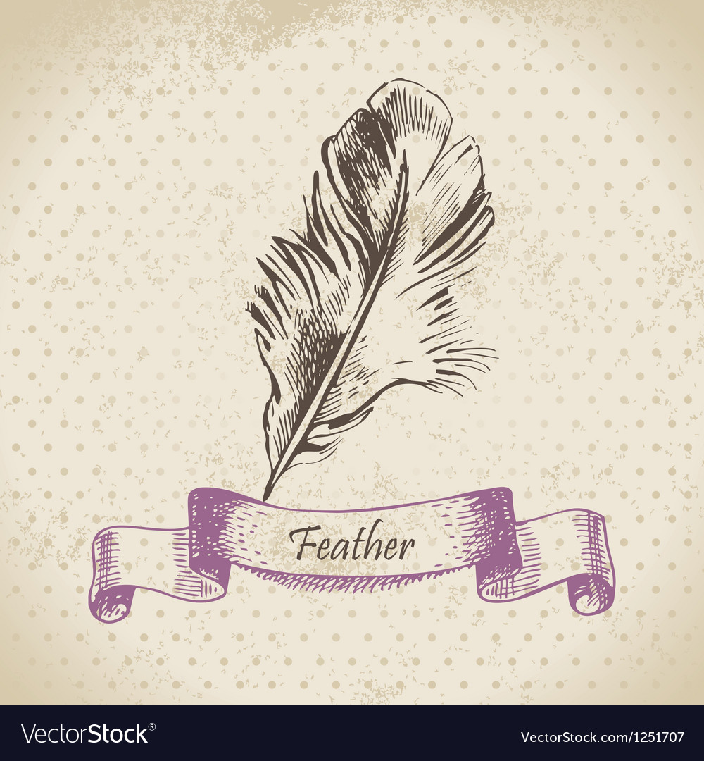 Vintage background with feather