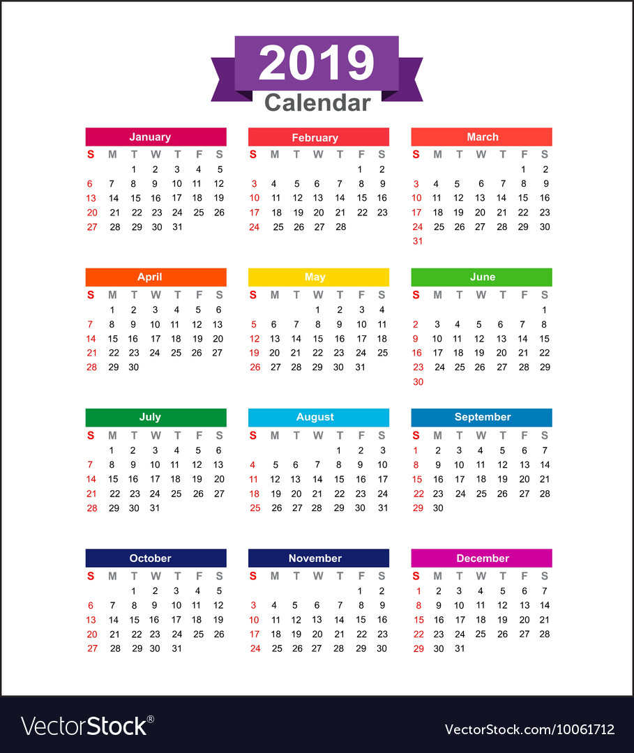Year Calendar 2019 : Year calendar isolated on white background vector image
