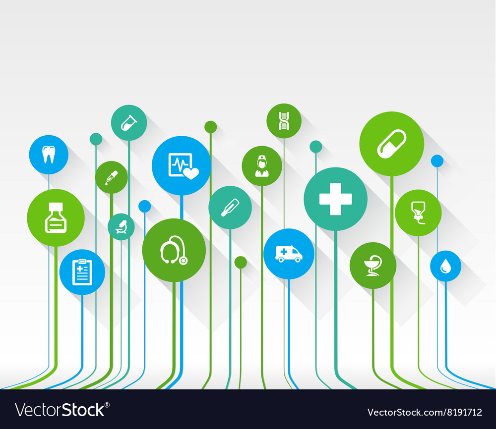 Abstract medicine background with lines circles vector image