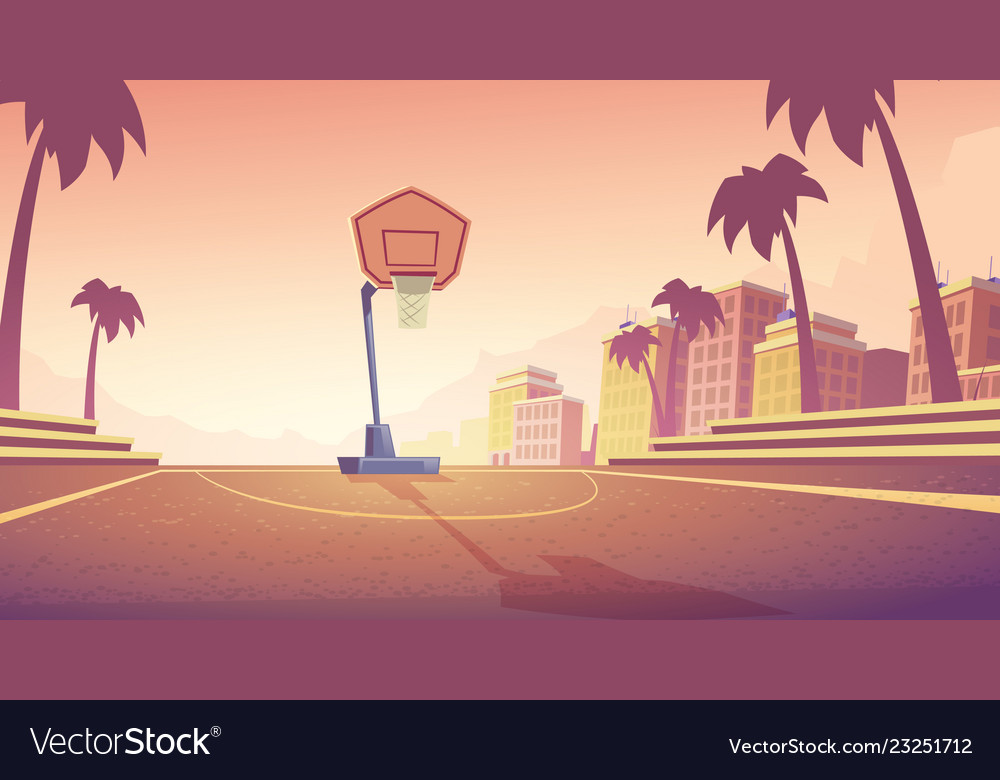 Background with basketball court in city