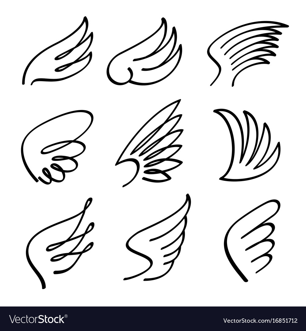 cartoon angel wings set sketch doodle royalty free vector rh vectorstock com angel wings cartoon pictures heart with angel wings cartoon