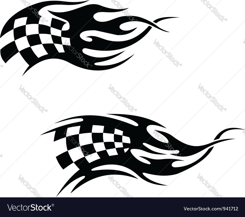 Checkered flag with black flames