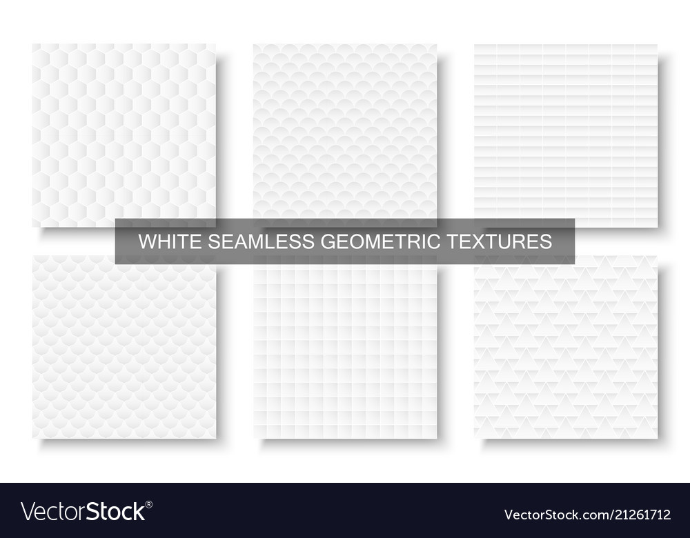 Collection of decorative white seamless textures