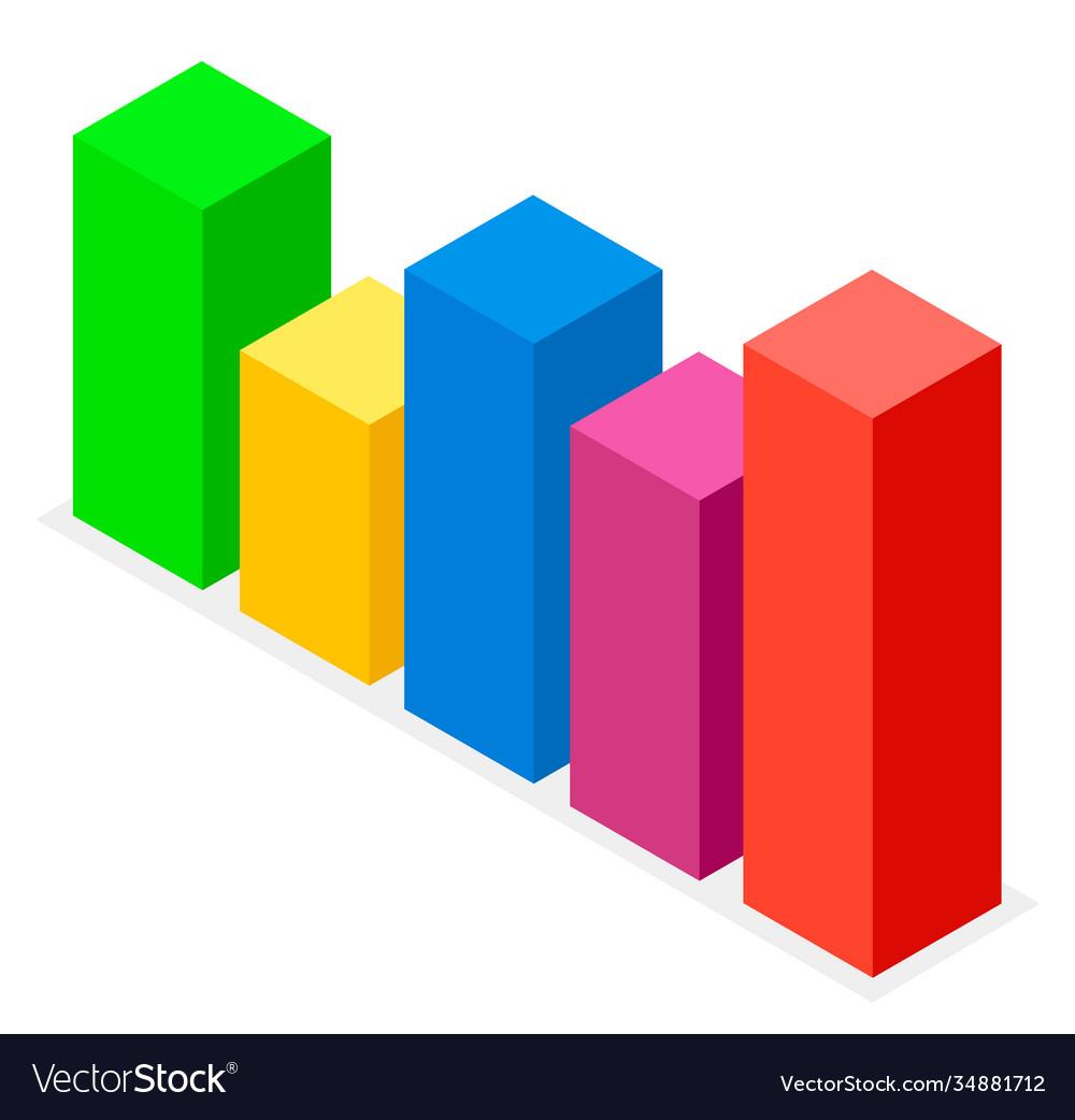 Colorful bar chart volumetric rectangular image