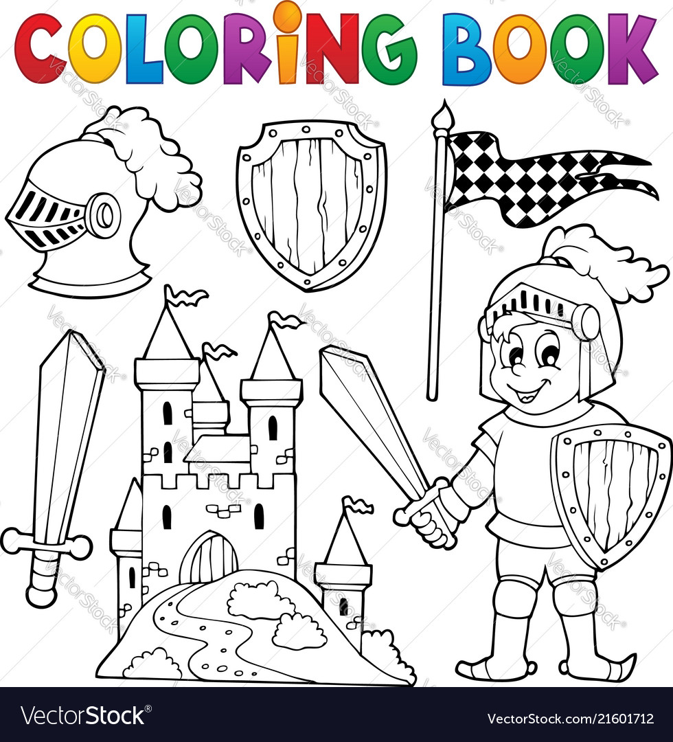 Coloring book knight theme 1 Royalty Free Vector Image