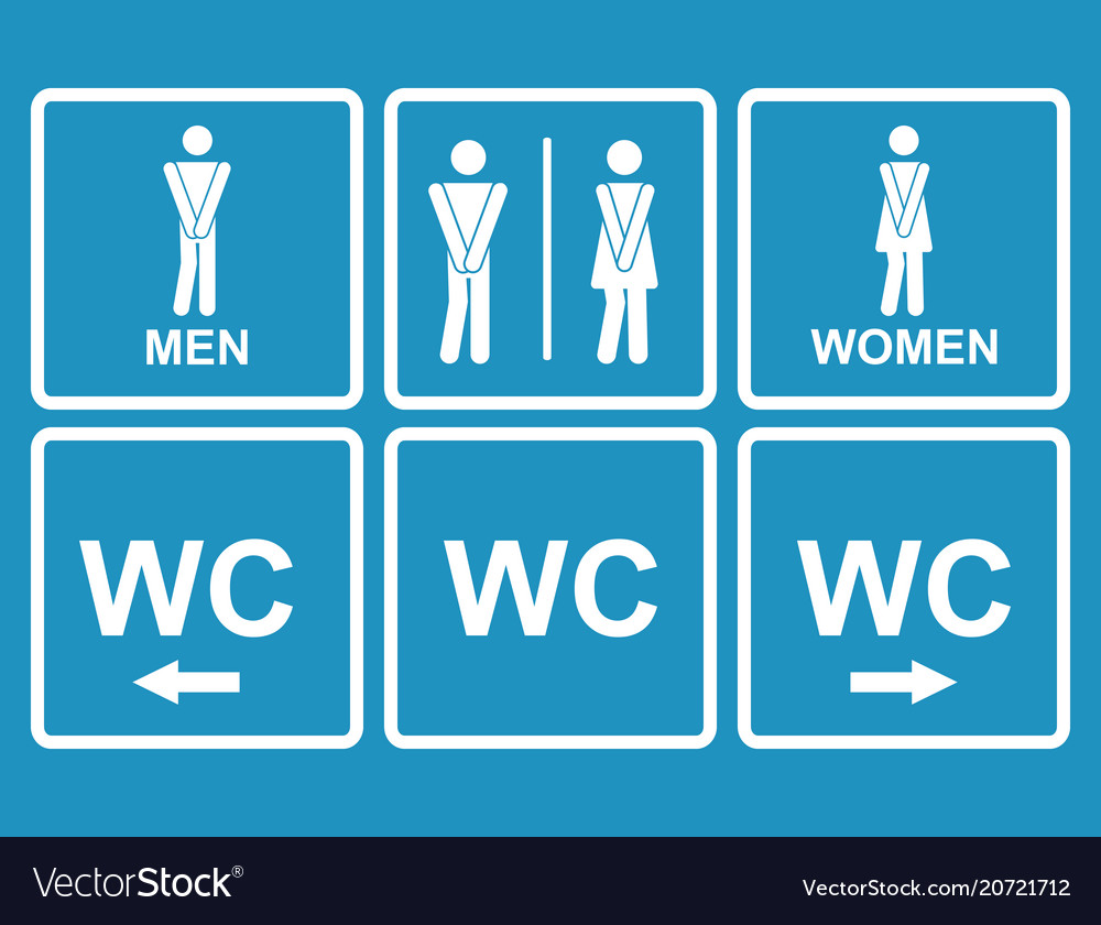 Male and female wc icon denoting toilet and vector image