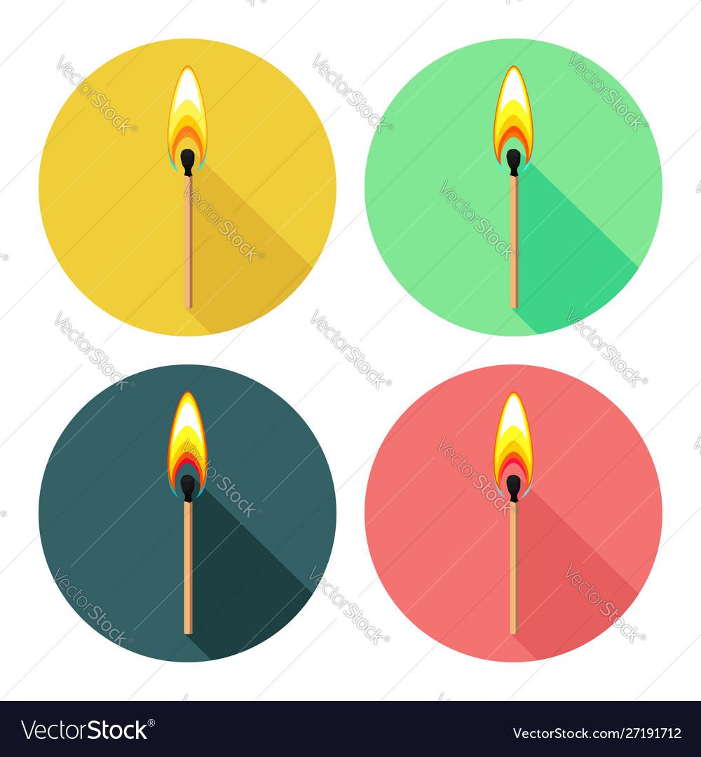 Round icons with burning match isolated on white