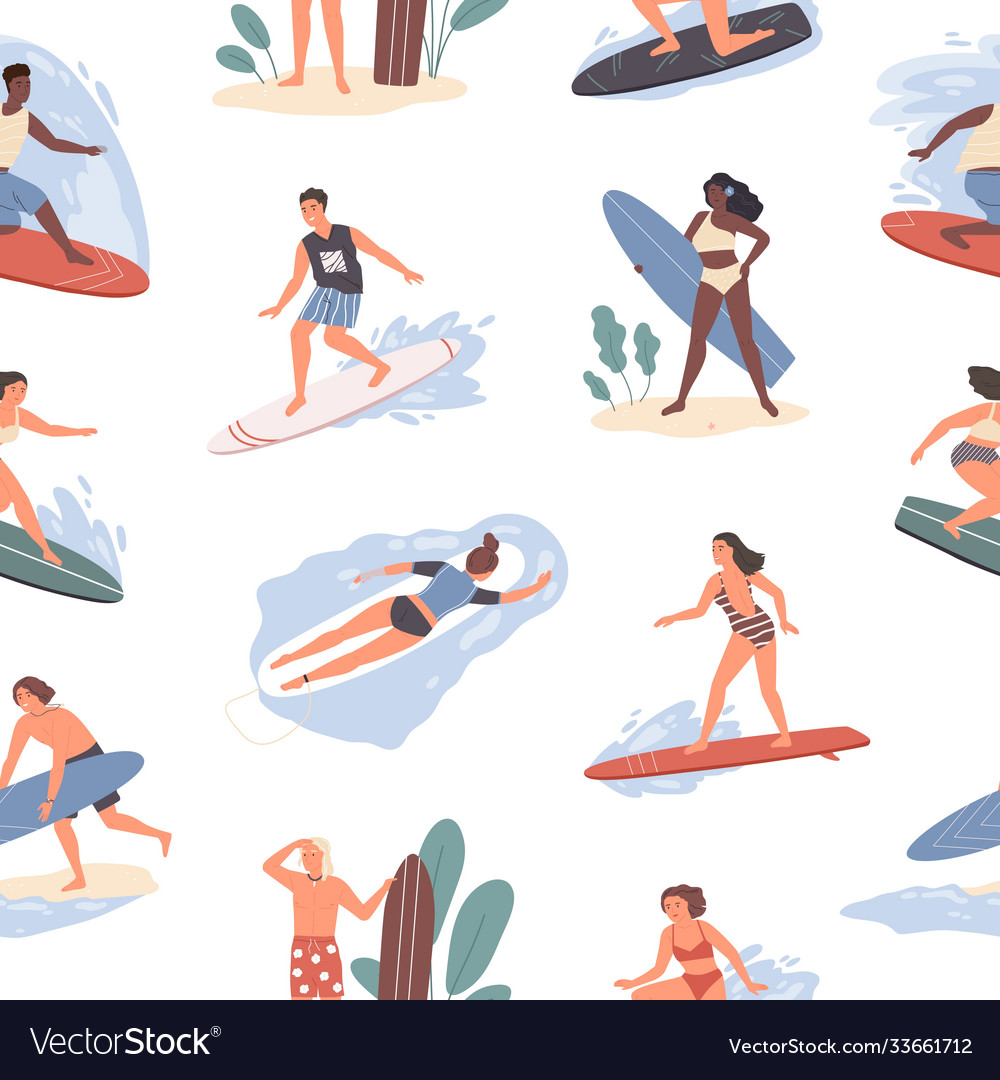 Seamless pattern different people swimming in