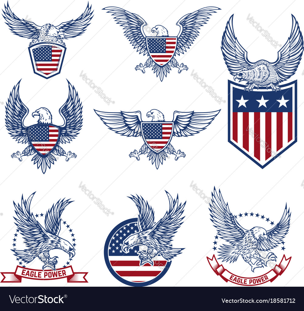 Set of emblems with eagles and american flags