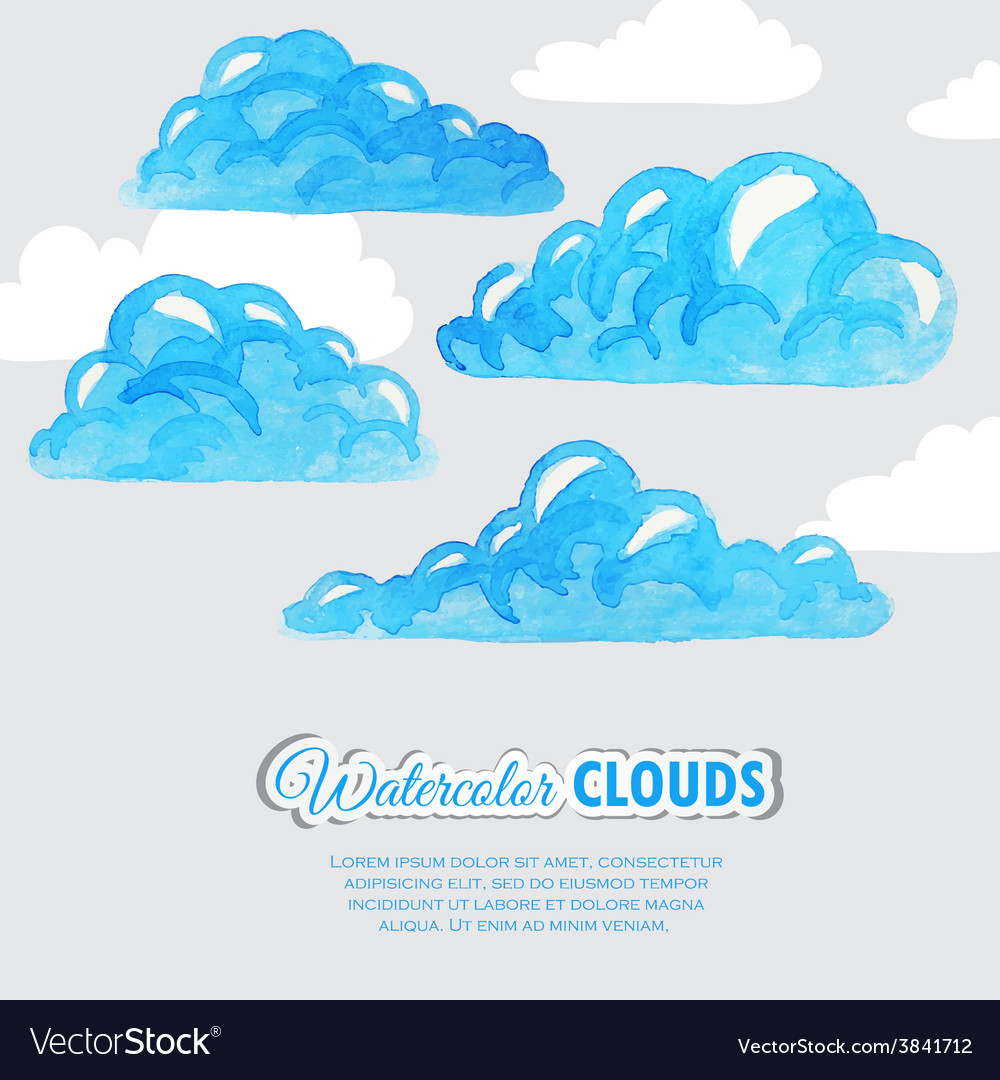 Set of watercolor clouds Weather icons