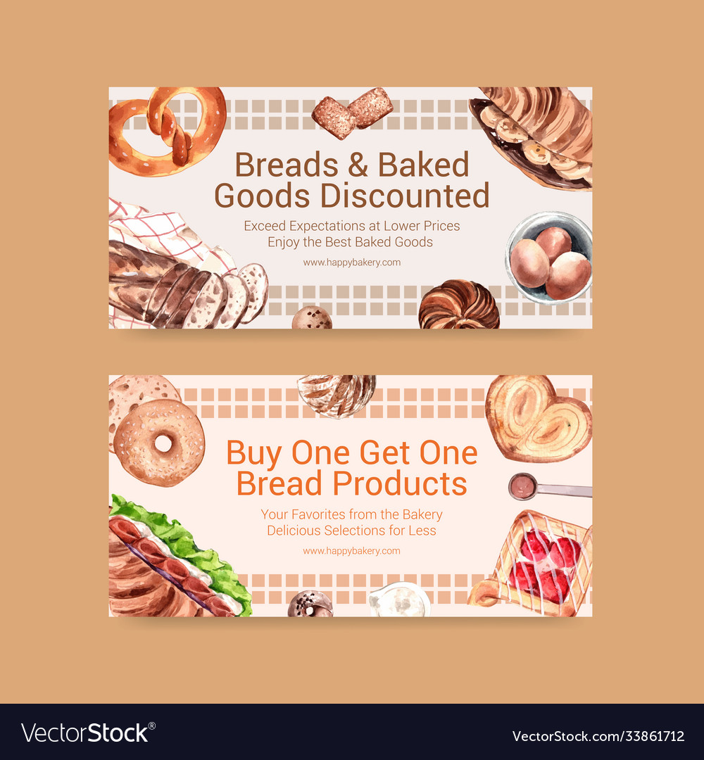 Twitter template design with bakery for social