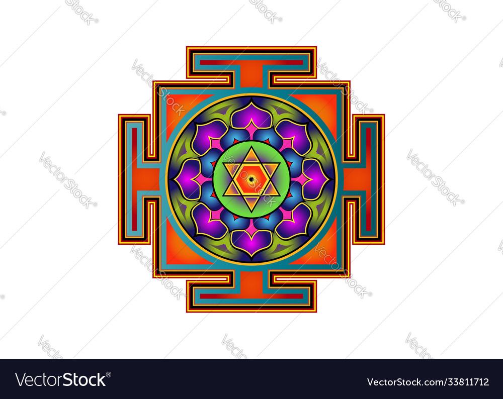 Yantra mandala colorful sacred geometry tibetan