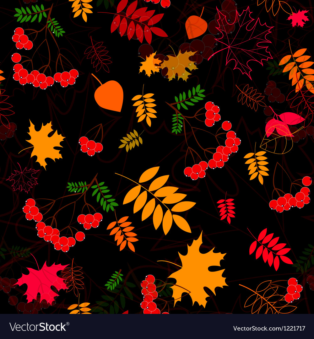 A seamless leaf and rowanberrys pattern background vector image