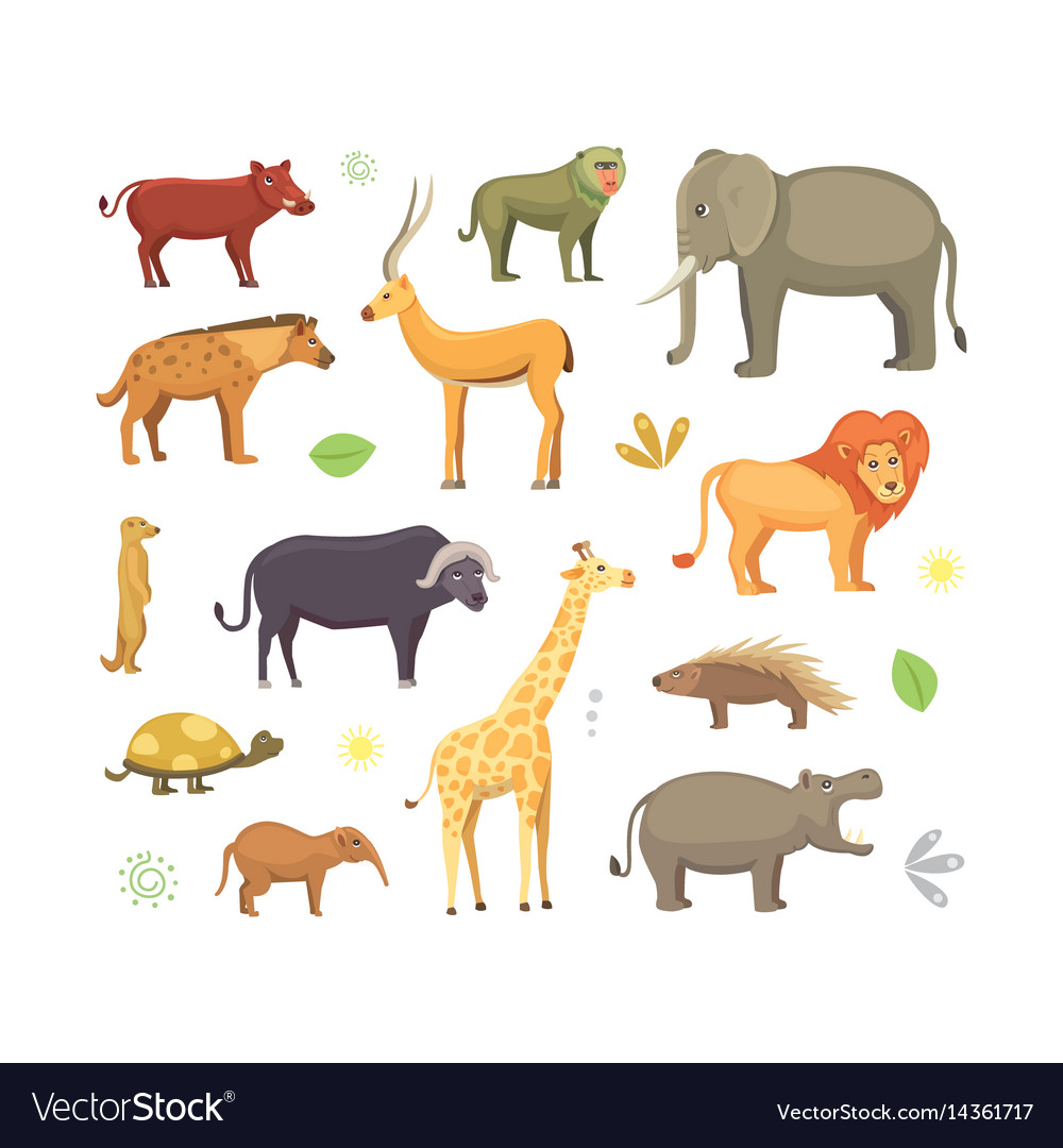 African Animals Cartoon Set Elephant Royalty Free Vector